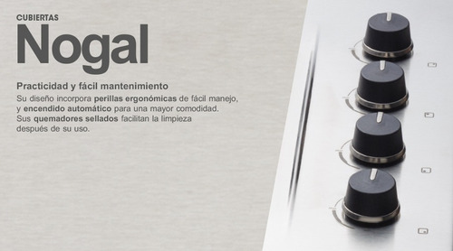 cubierta nogal cg 60-43 cristal mando lateral gas natural
