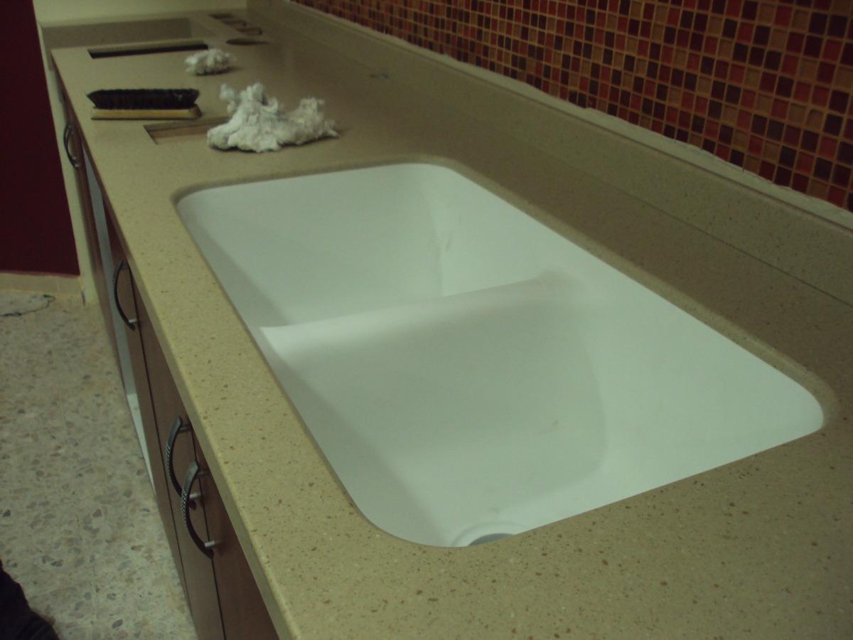 Cubierta para cocina con placa de corian tipo granito for Placas de marmol y granito