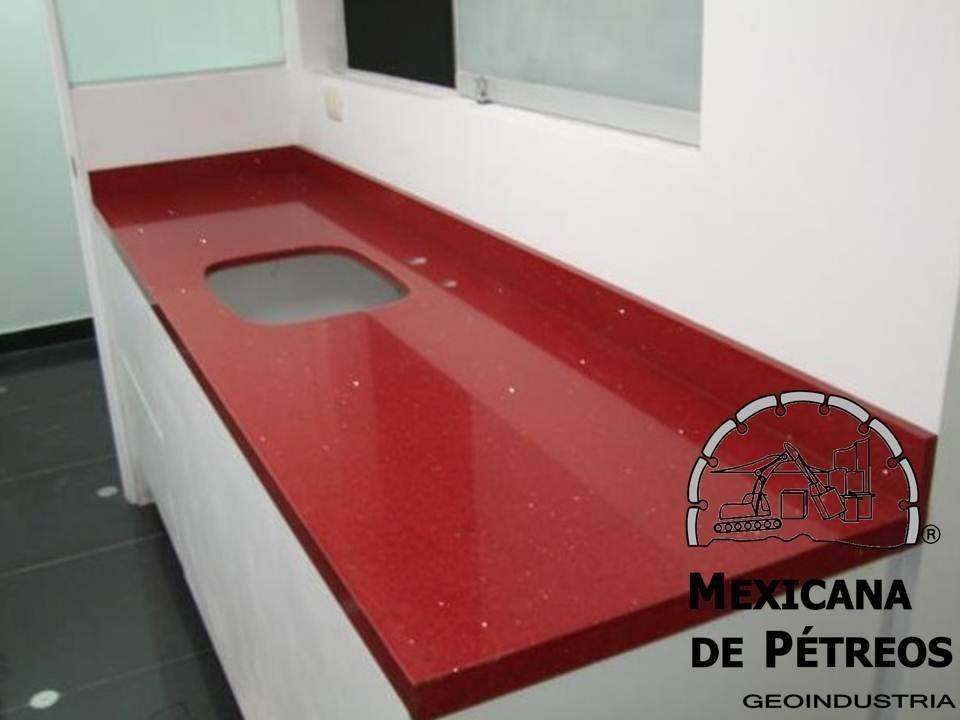 Cubiertas de cuarzo rojo estelar para cocinas integrales for Placas de marmol medidas