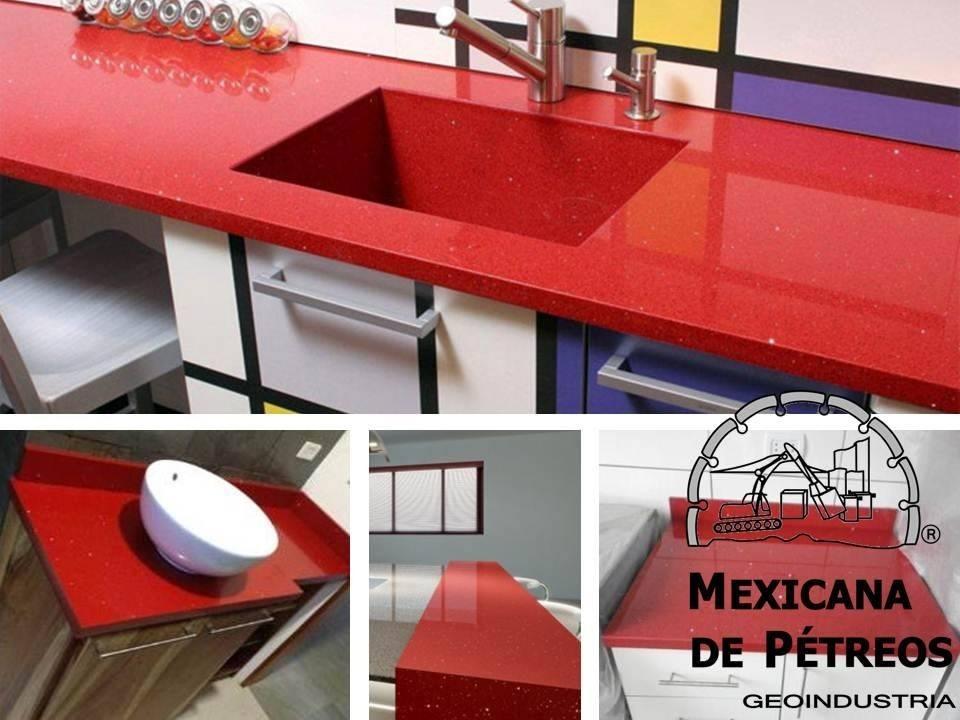 Cubiertas de cuarzo rojo estelar para cocinas integrales for Granito color rojo