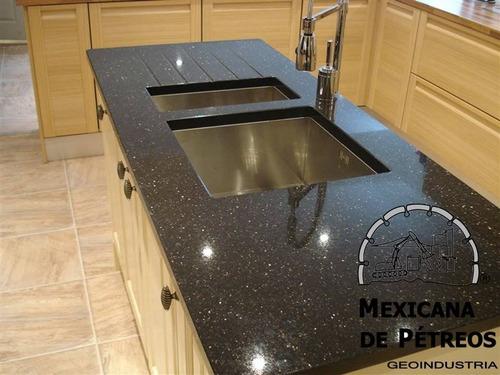 cubiertas de granito negro galaxy para cocinas integrales