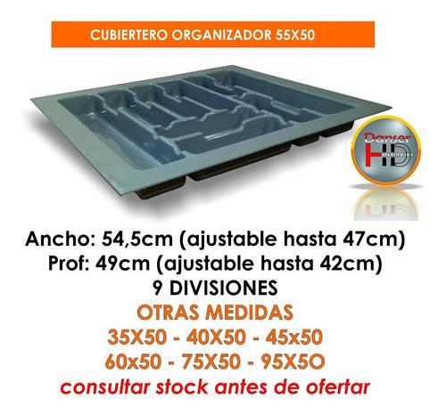 cubiertero y organizador 55x50 plast gris reforzado