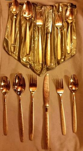 cubiertos baño plata y oro