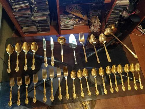 cubiertos chapa de oro