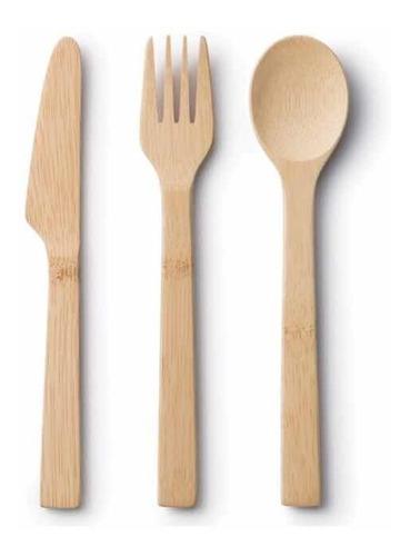 cubiertos de bambú ecológicos ! tenedor, cuchillo y cuchara.