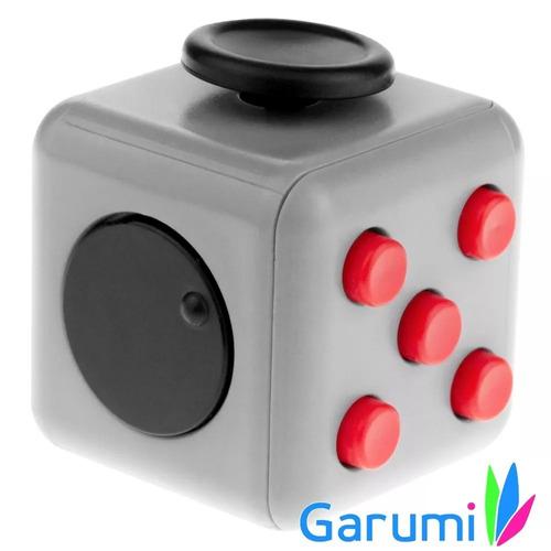 cubo antiestres ansiedad tension fidget cube gris rojo j1087