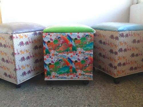 cubo baul forrado en ripstop con ruedas,tapa tapizada