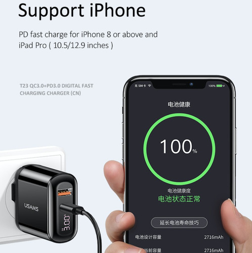 cubo cargador portátil usams 18w tipo c usb iphone samsung