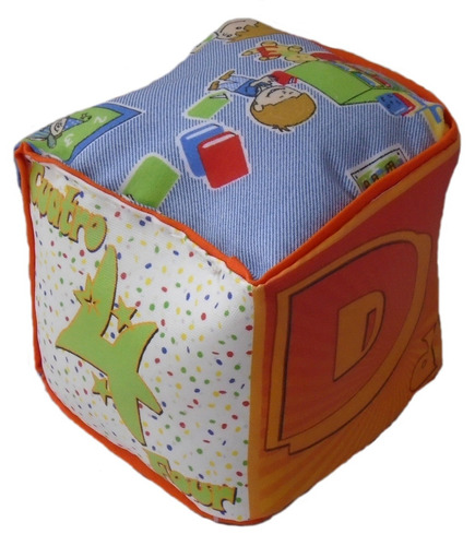 cubo dado de tela letra d para bebé estimulante y divertido