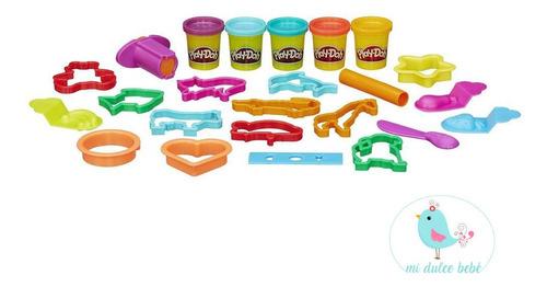 cubo de diversion con 5 masas y accesorios play doh b1157