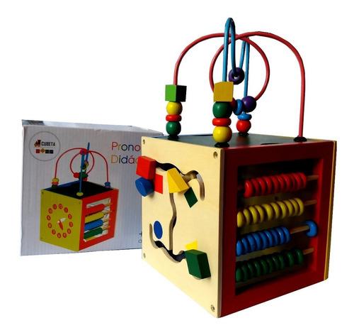 cubo de madera didáctico 5 en 1 prono reloj abaco juguete