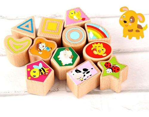 cubo de madera didáctico estimulacion formas colores reloj