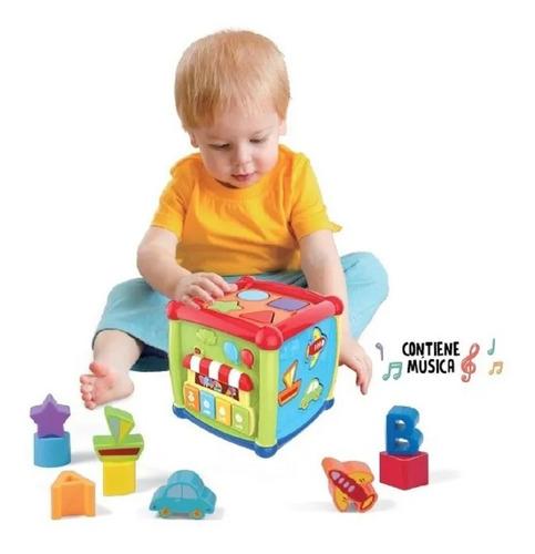 cubo didactico bebe encastre reloj piano musica babymovil