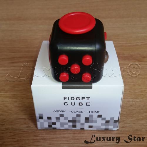 cubo fidget anti estres ansiedad 6 en 1- rojo/ negro goma ya