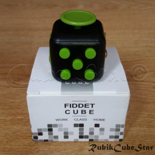 cubo fidget cube original anti estres - negro/verde goma ya