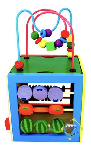 cubo madera didáctico 5 en 1 prono reloj abaco juguete niños