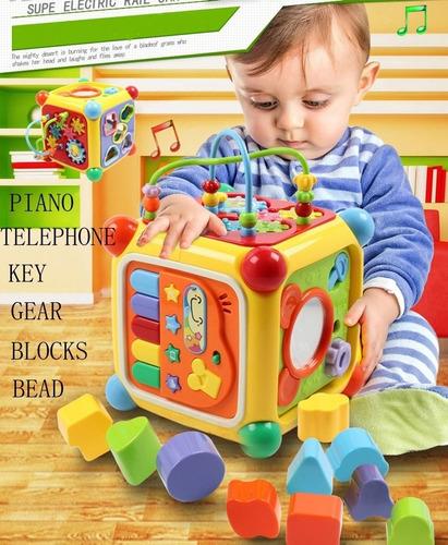 cubo musical con actividad juguete educativo y encastre 3838