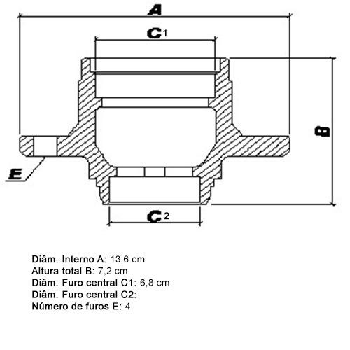 cubo roda traseiro rolamento courier 1997 a 1999 ct32