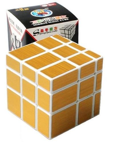 cubo rubik mirror shengshou 3x3x3 blanco / dorado + base