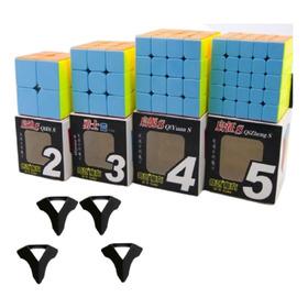 Cubo Rubik Pack X4 Qiyi Stickerless 2x2 3x3 4x4 5x5 + Bases