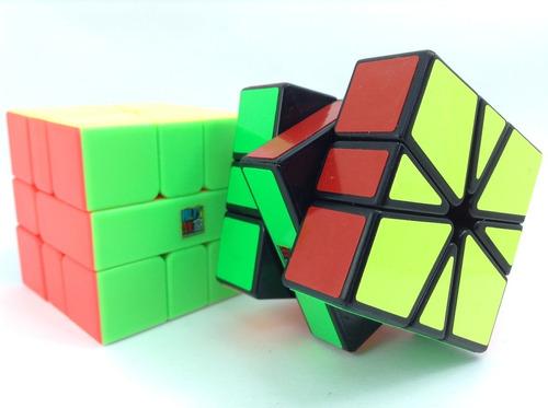 cubo rubik square 1 moyu mf black / stickerless sq-1 + base