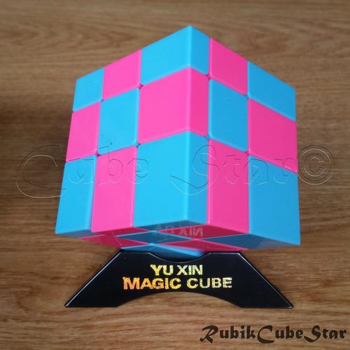 cubo rubik yuxin mirror 3x3 azul y rosado stickerless rc