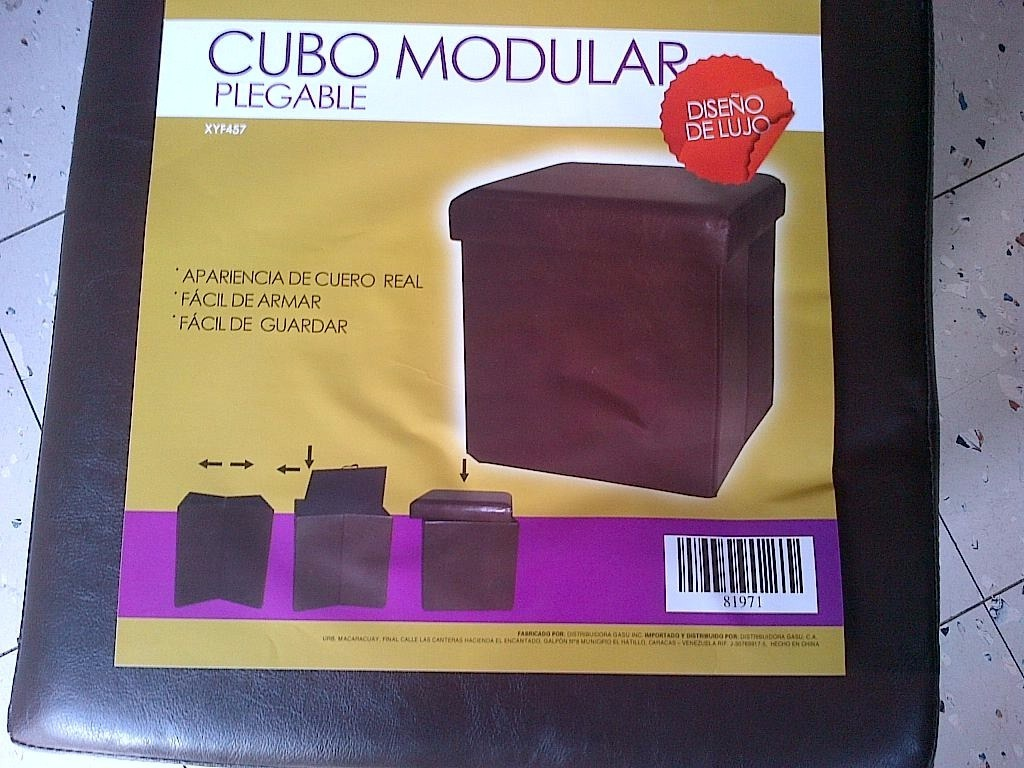 Cubo Modular Plegable De Semi Cuero 37x37 Cm Mueble Auxiliar - Bs ...