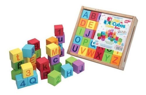 cubos abc madera didácticos letras números color aprendizaje
