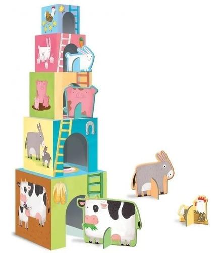 cubos apilables bebe animales de granja con libro manolito f
