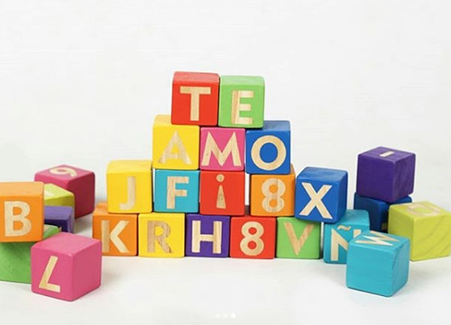 cubos bloques de madera letras abecedario numeros dn
