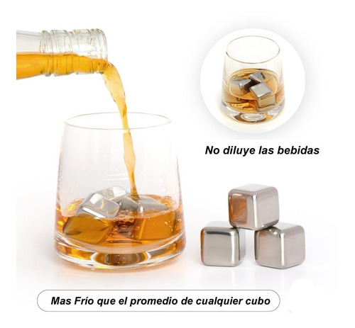 cubos de hielo acero inoxidable set x 4 hielos vino whisky