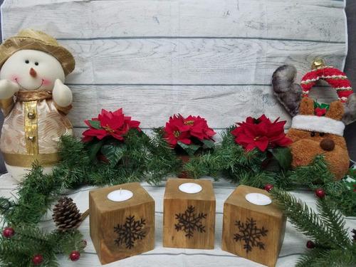 cubos de madera portavelas navideño con pirograbados