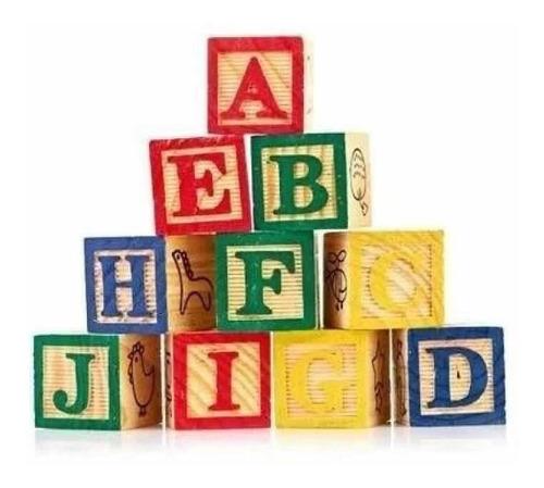 cubos madera didáctico letras números aprendizaje niños abec