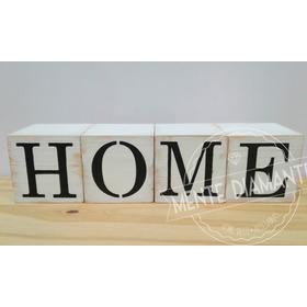 Cubos Vintage De Madera Home 4 Letras Deco Hogar
