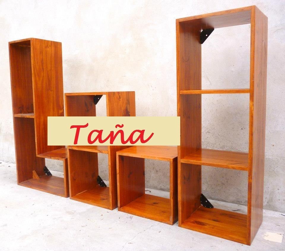 Cubos X 4 De Madera Pino Biblioteca Repiza Taña Muebles