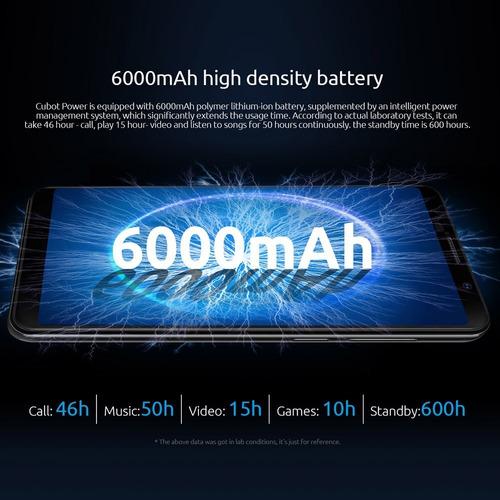 cubot power teléfono móvil 6000mah 6g/128gb azul