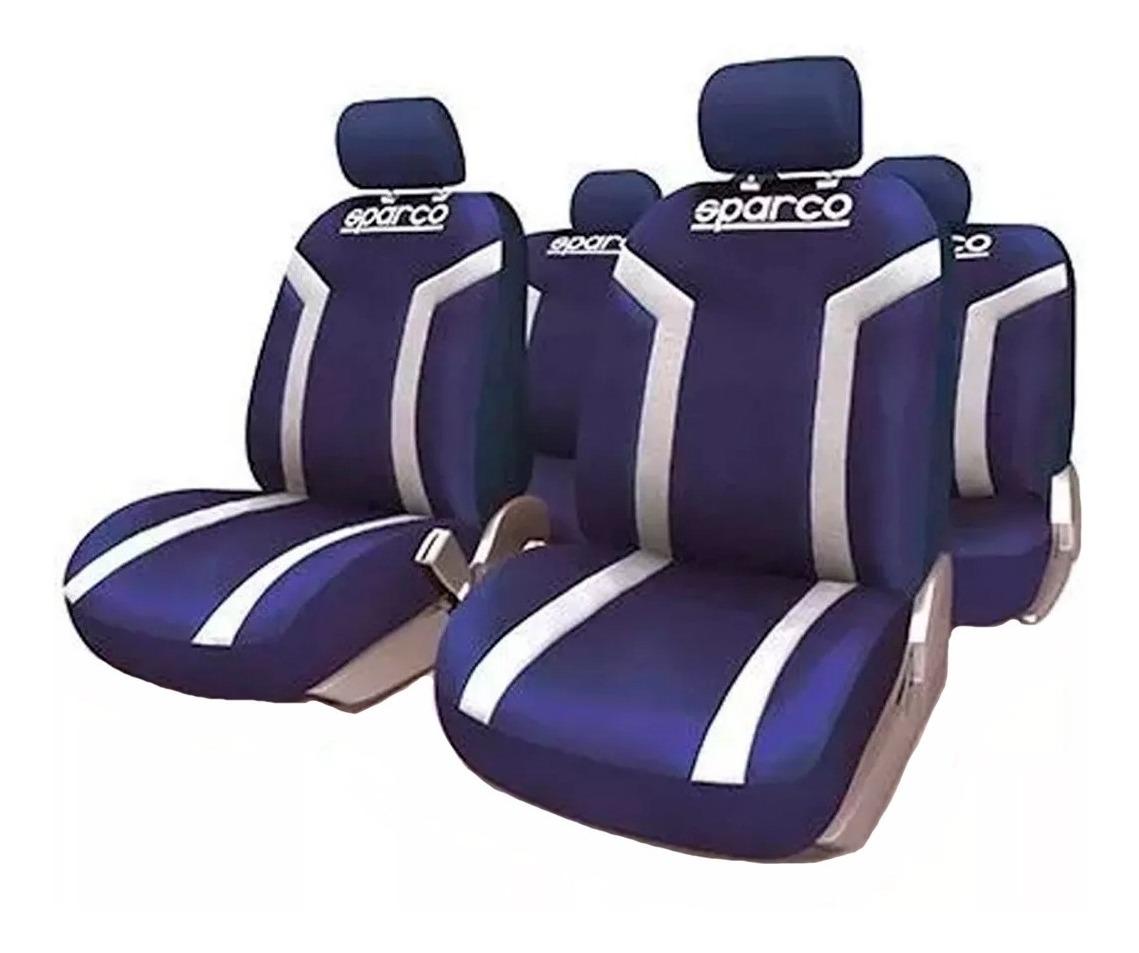 Juego completo de fundas asientos negras con franjas rojas Sparco para el coche.