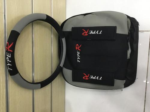 cubre asientos auto set type r + volante + almohadillas y057