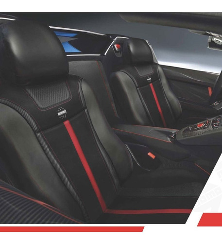 cubre asientos momo 003 negro rojo simil fibra carbono