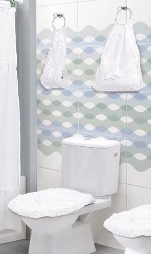 cubre bidet +inodoro +algodonera +rollo baño fiorella blanco
