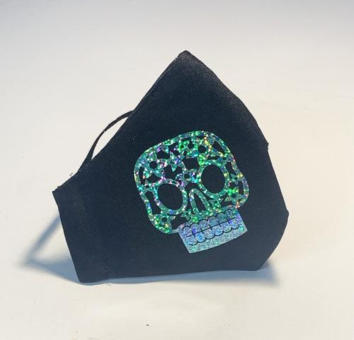 cubre bocas lavable calavera holográfica adulto flor