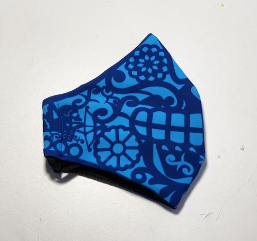 cubre bocas lavable papel picado azul adulto