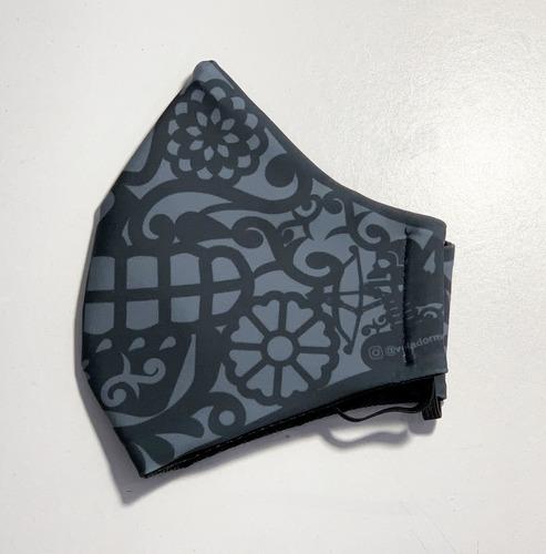 cubre bocas lavable papel picado gris adulto