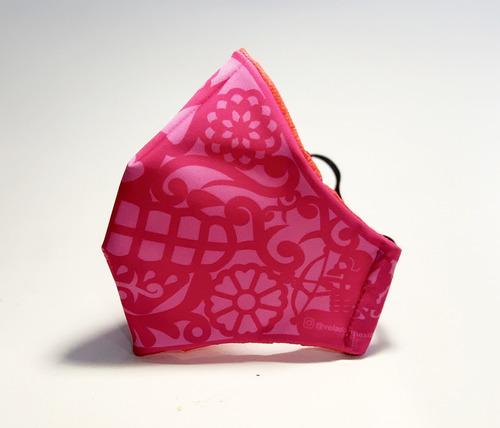 cubre bocas lavable papel picado rosa adulto