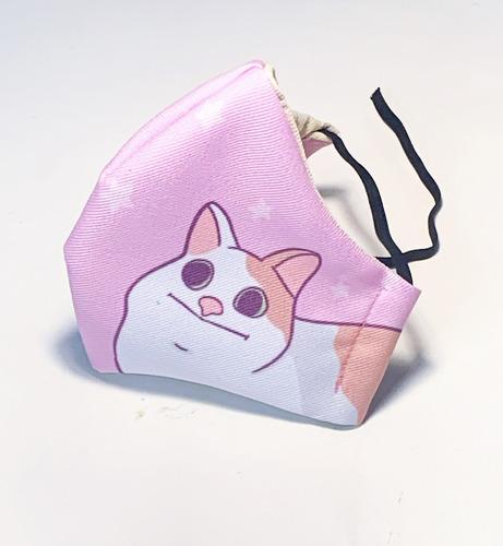 cubre bocas lavables y seguros gato rosa juvenil