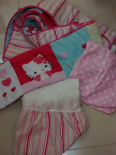 cubre cama set cuna hello kitty corral bebe edredon