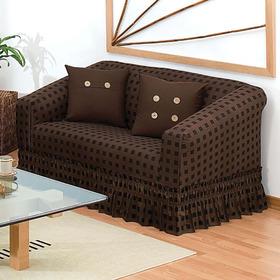 Cubre Love Seat Cuadros (2 Plazas) Chocolate Cddq
