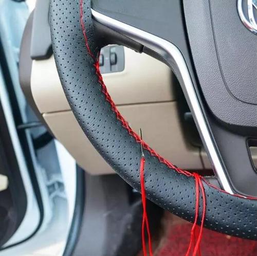cubre manubrio deportivo volante sintético hilo rojo o negro
