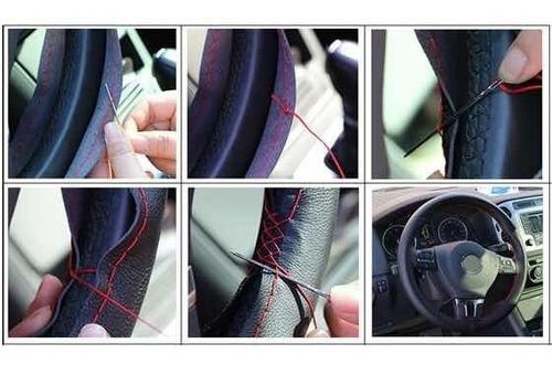 cubre manubrio volante premium estilo cuero hilo rojo o azul