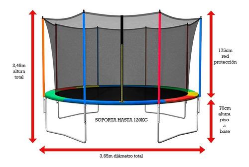 cubre resortes pvc cama elastica 3.65 metros chicos niños